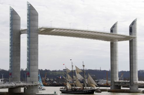 A sailing ship sails during a parade for the inauguration of new bridge Pont Jacques Chaban Delmas in Bordeaux