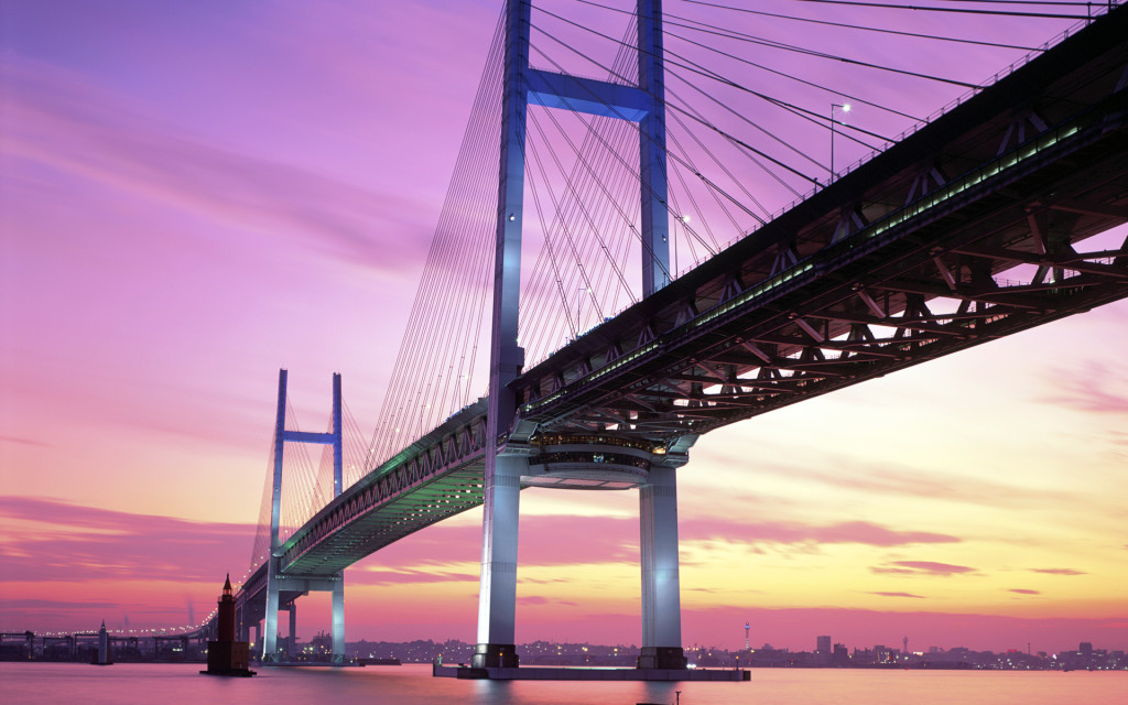 Yokohama Bay Bridge in the evening, Yokohama City, Kanagawa Prefecture, Japan